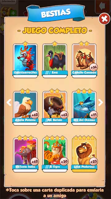 Colección de cartas de Bestias para obtener 100 tiradas al coin master
