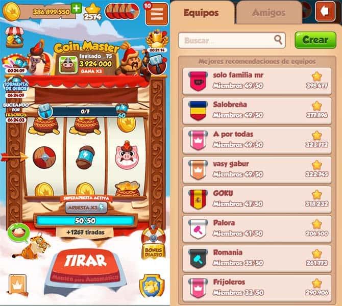 Equipos en Coin Master Teams